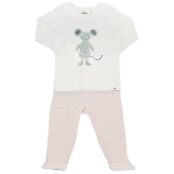 oh baby! Two Piece Jersey Footie Set - Ballerina Mouse in Sand - Petal Pink
