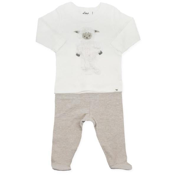 oh baby! Two Piece Footie Set - Ragdoll Lamb - Sand