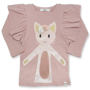 oh baby! Butterfly Sleeve Tee with Velvet Luxe Phoebe Kitty - Pink