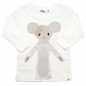 oh baby! Long Sleeve Tee - Velvet Luxe Daisy Mouse - Cream