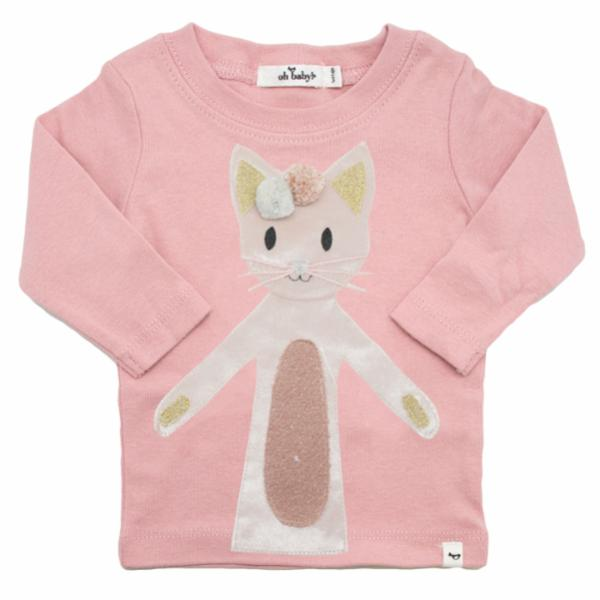 oh baby! Long Sleeve Tee - Velvet Luxe Phoebe Kitty - Blush