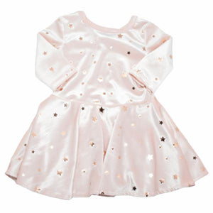 oh baby! Starry Velvet Dress, Pale Pink with Light Rose Gold Foil