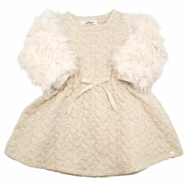 oh baby! Brooklyn Boxy Quilted Cable Dress with Cream Llama Sleeves, Oatmeal