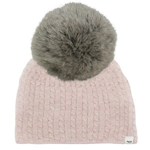 oh baby! Cable Knit Hat w/ Snap Fur Pom, Pale Pink