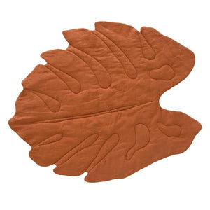 oh baby! Linen Playmat Monstera Leaf - Rust