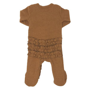 Wind and Willow Ruffle Footie Onesie Baby Rib - Rust