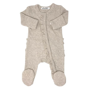 Wind and Willow Ruffle Footie Onesie Baby Rib - Sand