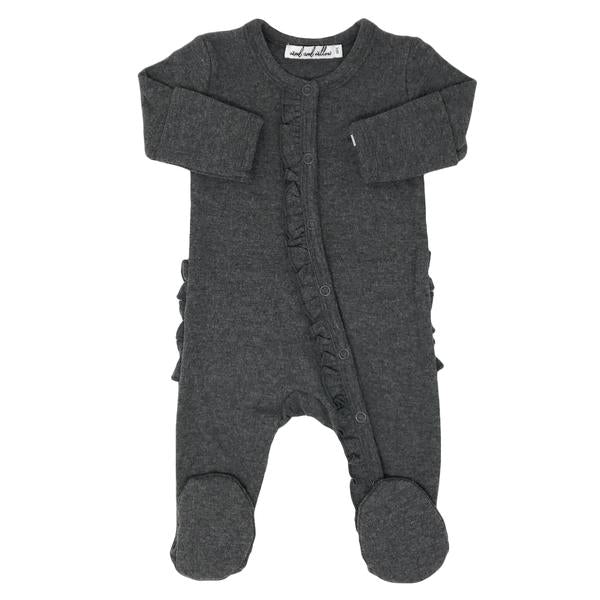 Wind and Willow Ruffle Footie Onesie Baby Rib - Charcoal