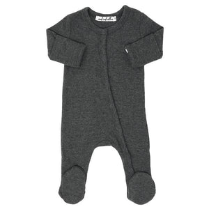 Wind and Willow Footie Onesie Baby Rib - Charcoal