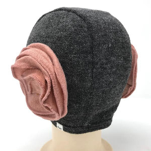 oh baby! Winter Sweater Knit Pilot Cap with Rose Flowers - Charcoal