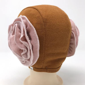 oh baby! Winter Sweater Knit Pilot Cap with Pale Pink Flowers - Caramel