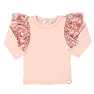 oh baby! Butterfly Long Sleeve Velvet Tee - Pale Pink