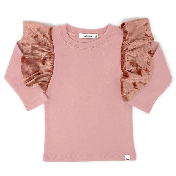 oh baby! Butterfly Long Sleeve Velvet Tee - Blush