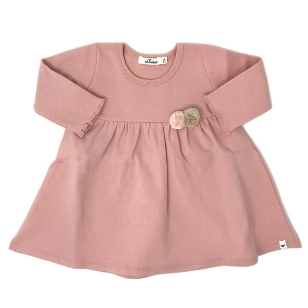 oh baby! Baby Dress with Pompoms - Blush
