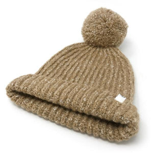 oh baby! Marled Knitted Pom Hat - Oat