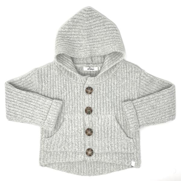 oh baby! Marled Knitted Cardigan Sweater - Ice