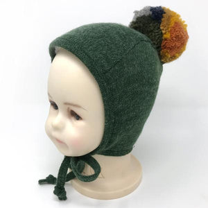 oh baby! Winter Pilot Cap with Harvest Mix Snap Yarn Pom - Forest