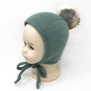 oh baby! Winter Pilot Cap with Neutral Mix Snap Yarn Pom - Sea