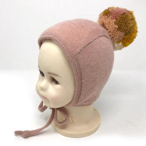 oh baby! Winter Pilot Cap with Blush Mix Snap Yarn Pom - Blush