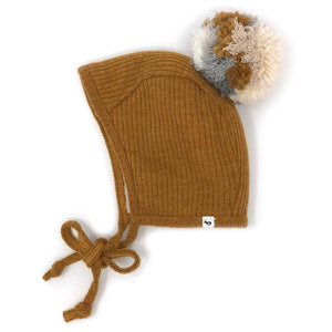 oh baby! Winter Pilot Cap with Neutral Mix Snap Yarn Pom - Caramel