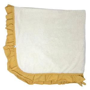 oh baby! Winter Snowdrift Ruffle Trimmed Receiving Blanket - Maize