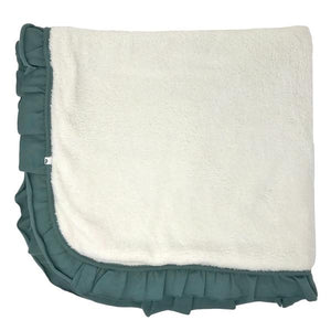 oh baby! Winter Snowdrift Ruffle Trimmed Receiving Blanket - Sea