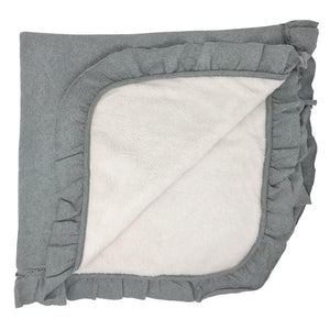oh baby! Winter Snowdrift Ruffle Trimmed Receiving Blanket - Coal