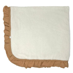 oh baby! Winter Snowdrift Ruffle Trimmed Receiving Blanket - Honey