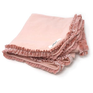 oh baby! Layette Blanket with Velvet Ruffle Trim - Pale Pink