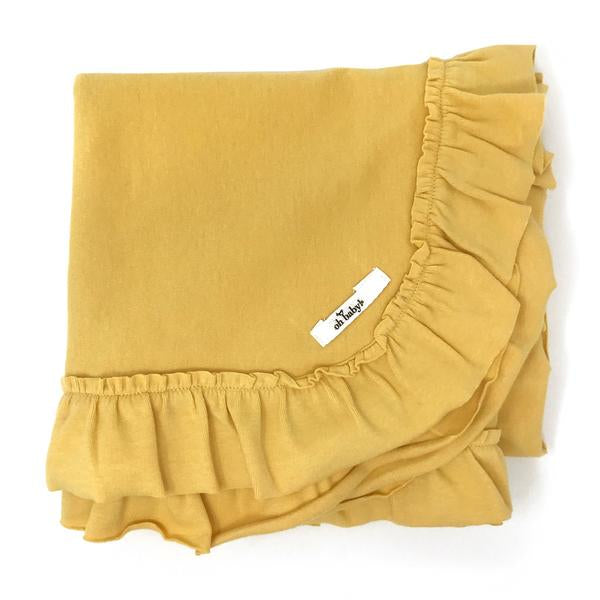 oh baby! Ruffle Trimmed Layette Blanket - Maize
