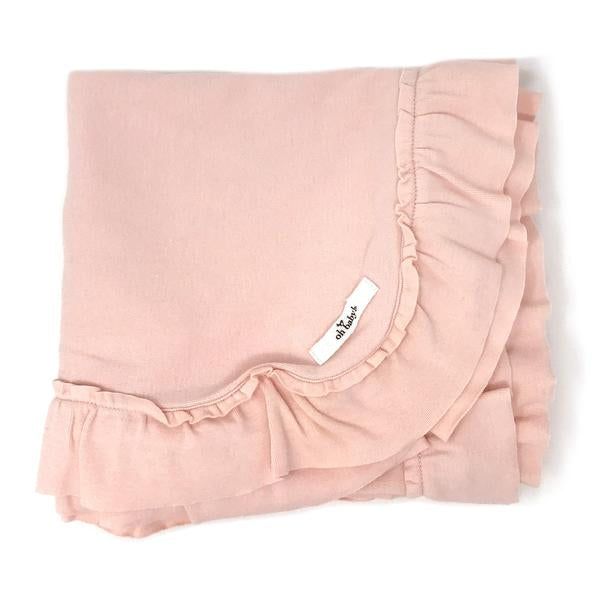 oh baby! Ruffle Trimmed Layette Blanket - Pale Pink