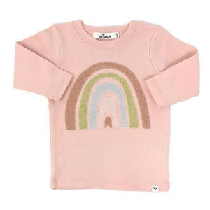 oh baby!  Stardust Rainbow Long Sleeve Tee - Pale Pink