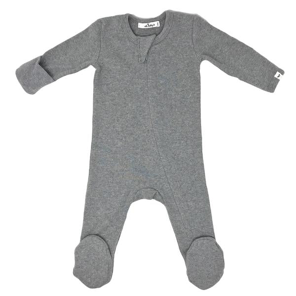 oh baby! Zipper Footie Baby Rib - Coal