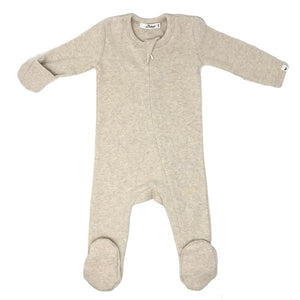 oh baby! Zipper Footie Baby Rib - Sand