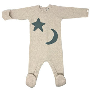 oh baby! Snapback Footie Baby Rib with Star Moon - Sand
