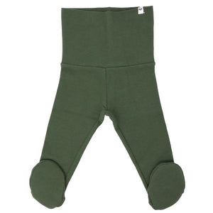 oh baby! Yoga Footie Pant Baby Rib - Moss