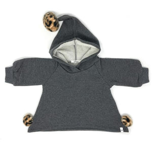 oh baby! Pixie Hooded Sweatshirt with Tan Cheetah Pom - Charcoal