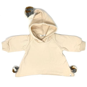 oh baby! Pixie Hooded Sweatshirt with Neutral Poms - Natural