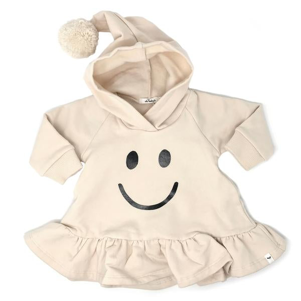 oh baby! Pixie Ruffle Hoodie with Black Foil Smiley - Natural