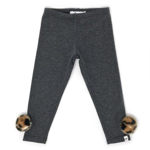 oh baby! Legging with Tan Cheetah Leopard Pom - Charcoal