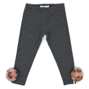 oh baby! Legging with Blush Cheetah Leopard Pom - Charcoal