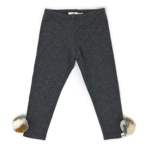 oh baby! Yarn Pom Leggings - Charcoal Multi