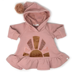 oh baby! Pixie Ruffle Hoodie with Velvet Sunrise - Blush