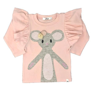 oh baby! Butterfly Sleeve Tee with Pom Pom Daisy Mouse - Light Pink