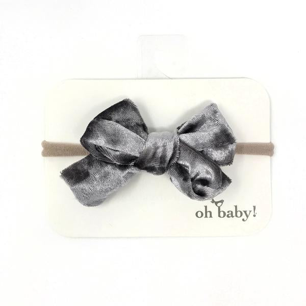 oh baby! School Girl Crush Velvet Bow on Nylon Headband - Smoke Crush