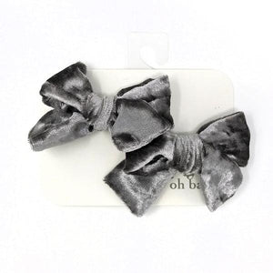 oh baby! School Girl Crush Velvet Bow Clips - Smoke Crush
