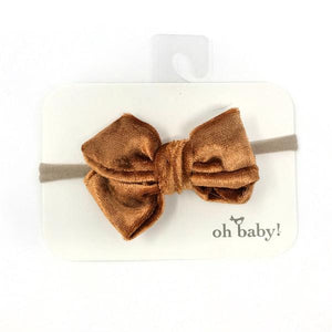 oh baby! School Girl Crush Velvet Bow on Nylon Headband - Cinnamon Crush