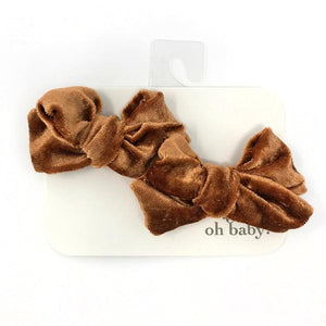 oh baby! School Girl Crush Velvet Bow Clips - Cinnamon Crush