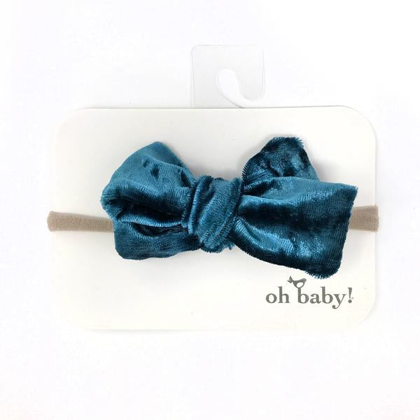 oh baby! School Girl Crush Velvet Bow on Nylon Headband - Azure Crush