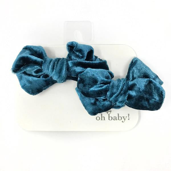 oh baby! School Girl Crush Velvet Bow Clips Set- Azure Crush